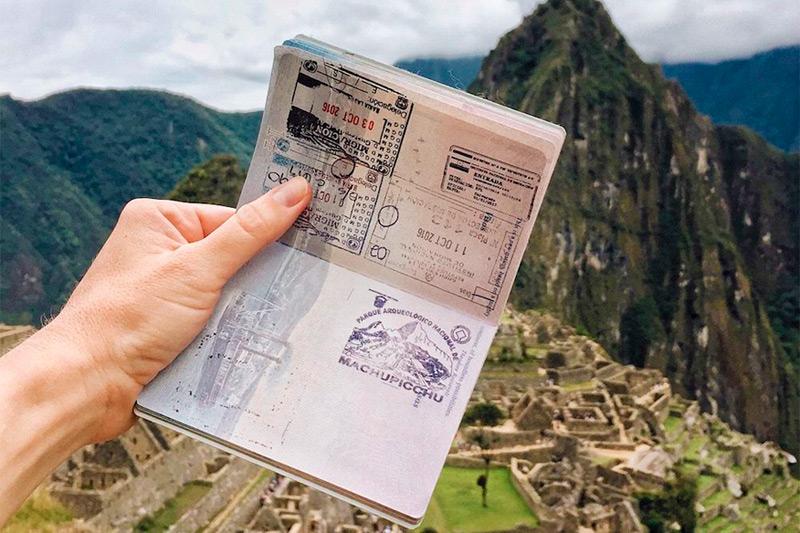Passaporte com carimbo de Machu Picchu, Peru